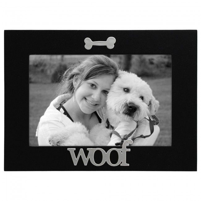 Display a picture of your BFF (Best Furry Friend) in this 'Woof' photo frame.