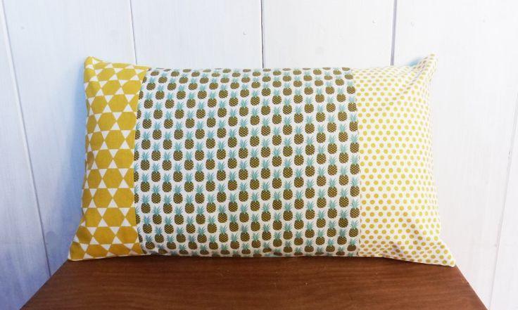 Housse de coussin 50 x 30 cm tissus motifs ananas vert for Housse de coussin 50 50
