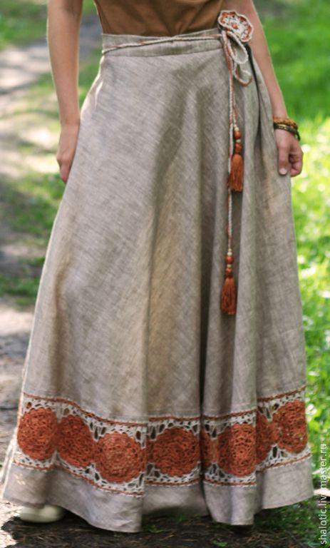 """Купить Льняная юбка с кружевом """"Янтарный сон """" - льняное кружево, этно, эко, лен"""