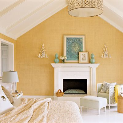 This will be the colours for the next master bedroom...soothing tranquility.: Idea, Yellow Wall, Beaches House, Wall Color, Master Bedrooms, Coastal Decor, Coastal Living, Bedrooms Color, Modern Interiors