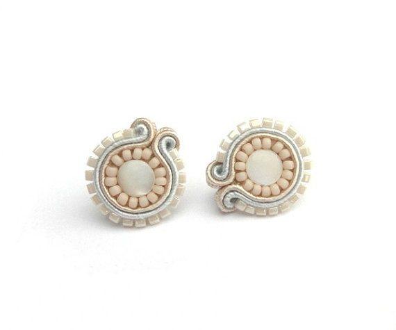 Beige bridal soutache stud earrings by soStudio on Etsy, $26.00