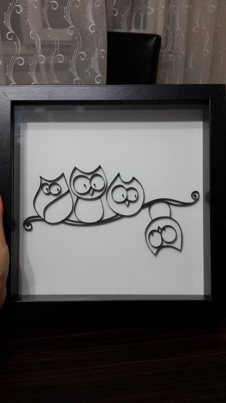 Idea de decoración cuarto infantil con cuadro de buhos realizados en filigrana de papel por Quilling Atölyesi  -  Children's room decorating idea with owls picture made of quilling for quilling Atölyesi