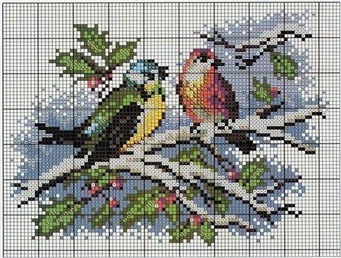 Cross-stitch Birds in Winter... No color chart, so use colors on pattern chart for your guide