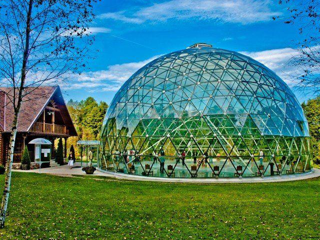 Dome of Merkinė – aluminium and glass construction pavilion - VikingDome