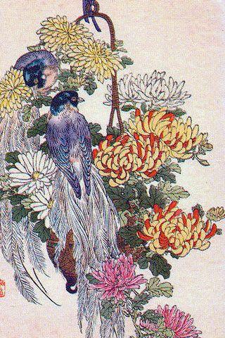 Байрэй Коно Райские птицы и хризантемы.1883