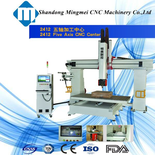 Jinan hot sale 5 axis cnc wood router machining center for art work with CE certification