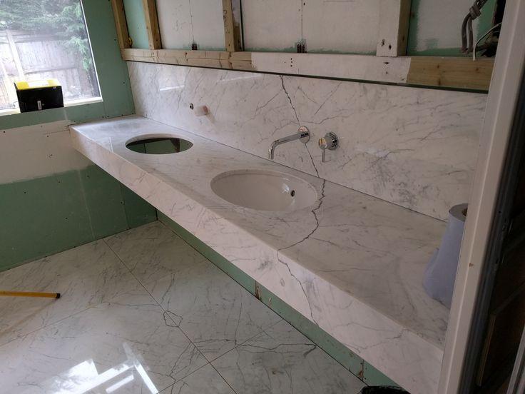 Carrara stone basin counter taking shape at our Chislehurst Project