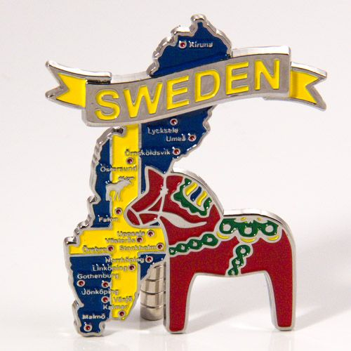 Metal Fridge Magnet: Sweden. Map of Sweden (Chrome Plating and Enamel)