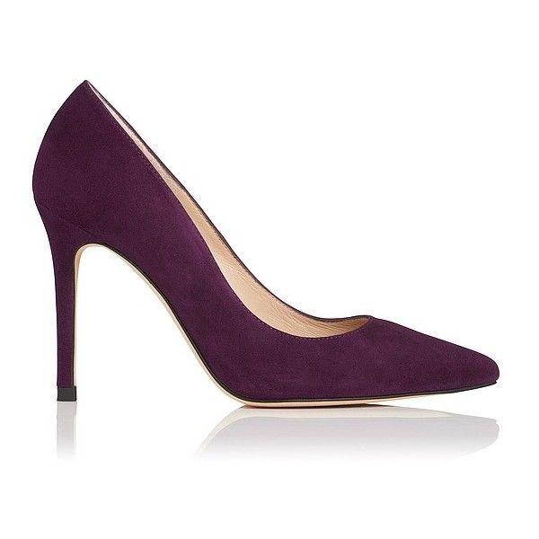 Fern Purple Suede Closed Courts ($240) ❤ liked on Polyvore featuring shoes, pumps, purple suede shoes, metallic pumps, suede pumps, suede pointed toe pumps and purple pointed toe pumps