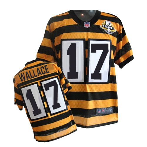 be39f5a1e69 ... Black Elite Nike NFL Jerseys W 80 Anniversary Patch Mens Nike Pittsburgh  Steelers 17 Mike Wallace Game 80th Anniversary Throwback Jersey79.99 ...
