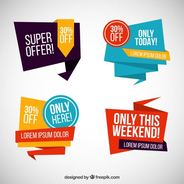 Origami sale banners Free Vector