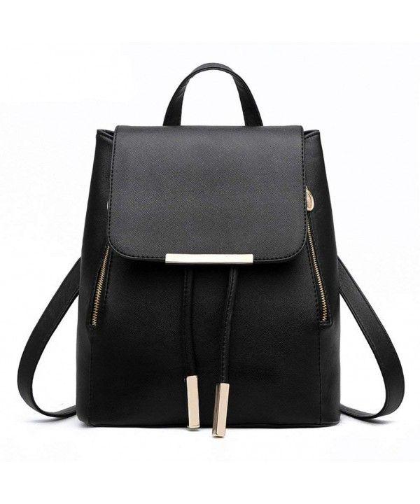 Women/'s Black Backpack Leather Shoulder Bag Tote Handbag Travel Satchel Rucksack