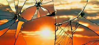 Sunset reflected through broken mirror - Bing Wright