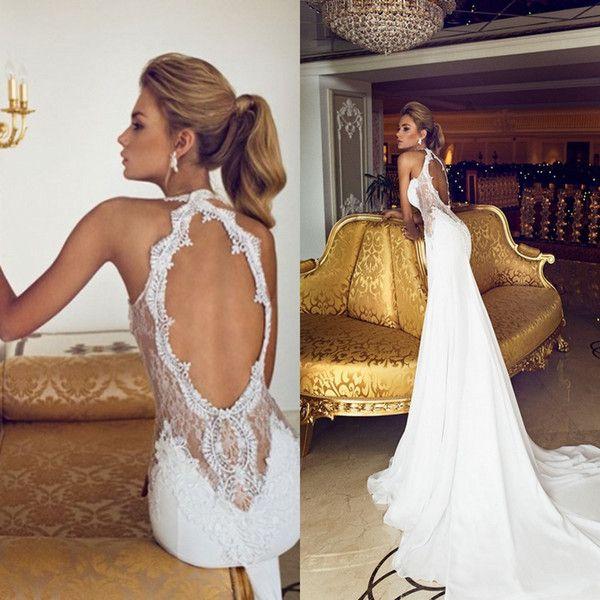 Charming 2015 Open Back Vintage Spitze Brautkleider Schatzapplique-Korn-Chiffon- reizvolle bloße Gericht Zug Nixe-Brautkleid-Kleid