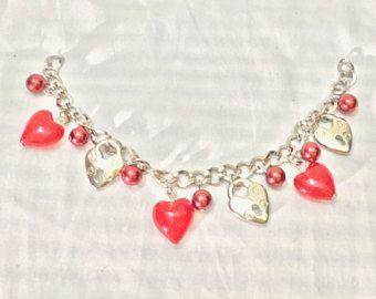 Rode harten tas charme - sleutelhanger-Bag decoratie-harten armband-key ring-hearts tas charmes-LV tas charme-hart charmes
