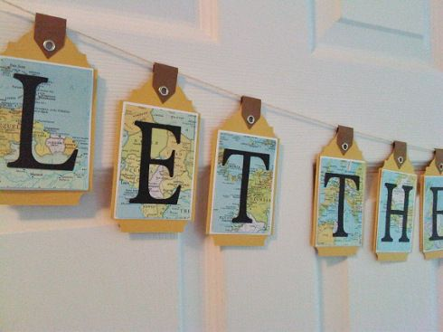 """""""Let the Adventure Begin"""" - map bunting banner by Pickled Cherry"""