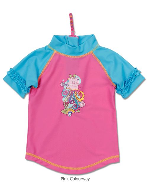Short Sleeve Rash Top for Baby Girls by Bright Bots  Make a splash this summer with a Rash Top featuring a fun undersea character. The sleeves and high neckline offer extra sun protection for the neck and shoulders, while zipper access at the back makes it easy to take on and off, even when soaking wet. Shown in Pink.