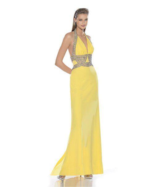 Sarı Işlemeli Abiye Modeli