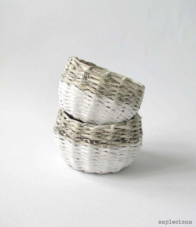 Mały szaro-biały koszyk - zapleciona - Koszyki