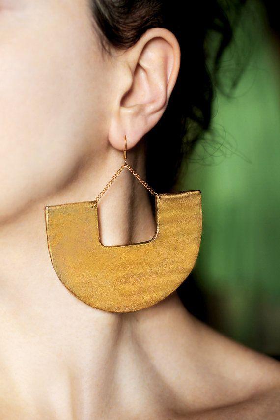 Big earrings Modern earrings Large earrings by GitasJewelryShop