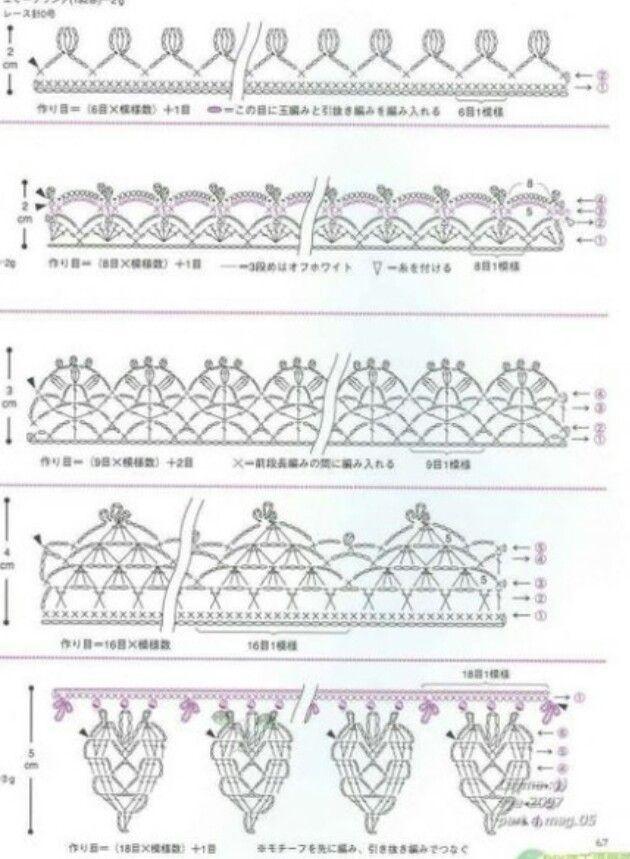 Mejores 439 imágenes de crochet edges en Pinterest   Encajes de ...