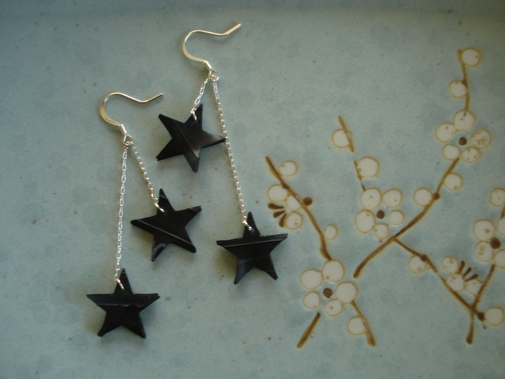 Starry night earrings - recycled inner tube earrings. $15.00, via Etsy.