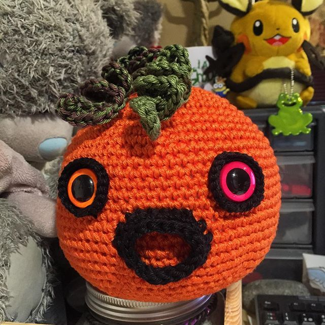 This is Hallow the Pumpkin Blob. #suncatchereyes #cuddles #Blob #orange #black #crochet #pumpkin #halloween