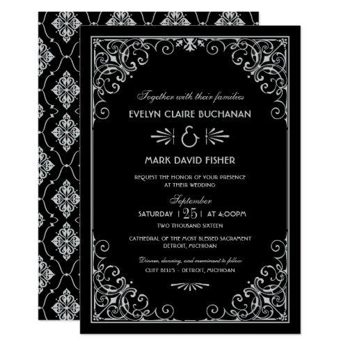 Vintage Wedding Invitation Wedding Invitations | Art Deco Style