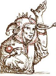 Hans Holbein, « Les idiots et les fous sont les gens les plus heureux », 1516. Kunstmuseum, Bâle. L'Eloge de la Folie d'Erasme illustré par les peintres de la Renaissance du Nord, Editions Diane de Selliers.