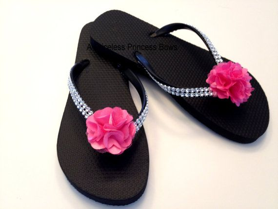 Bling & Satin Flower Flip Flops Womens Girls by APricelessPrincess, $19.95