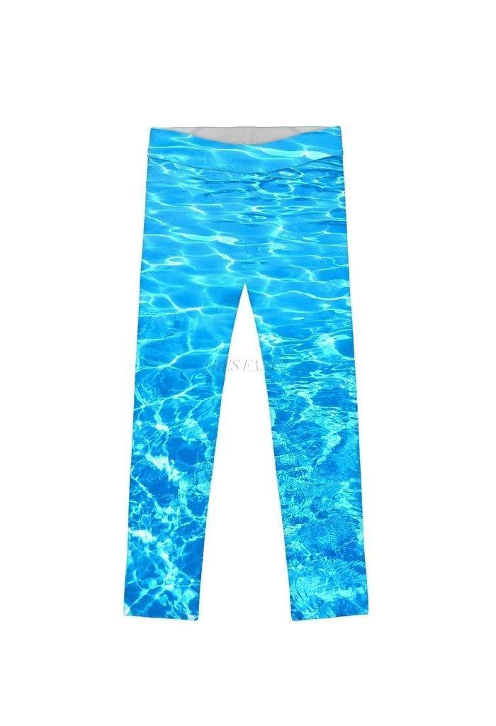 Harmony Song Lucy Cute Blue Water Printed Leggings - Girls