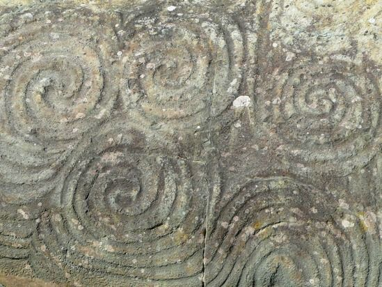 Neolithic stone carvings at newgrange special places