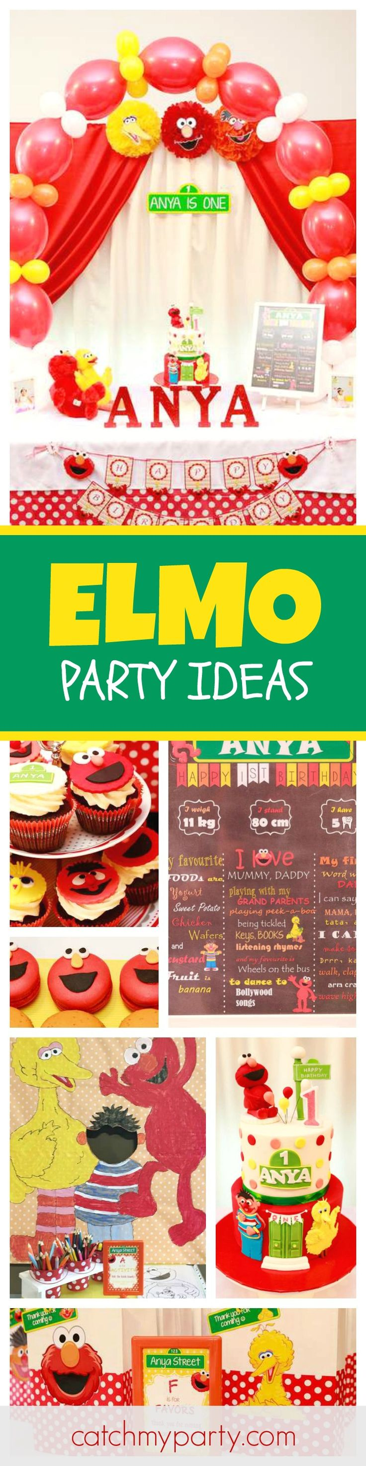 If yours kids love Sesame Street then they're gonna love this fun Elmo birthday party! The birthday cake is so cool! See more party ideas and share yours at CatchMyParty.com