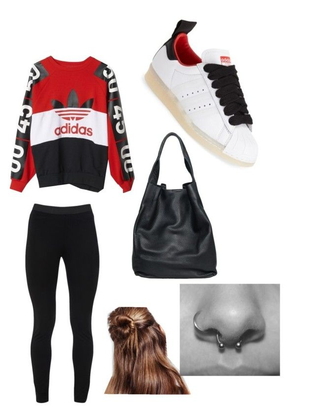 """No effort look to meet friends"" by charlieohanlon ❤ liked on Polyvore featuring adidas, Topshop, Peace of Cloth, christopher. kon, topshop and piercings"