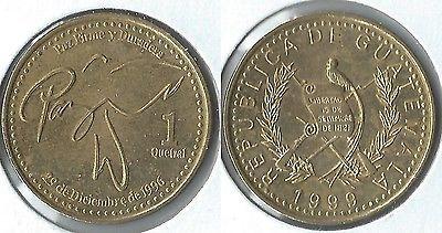 1999 moneda de Guatemala 1 Quetzal