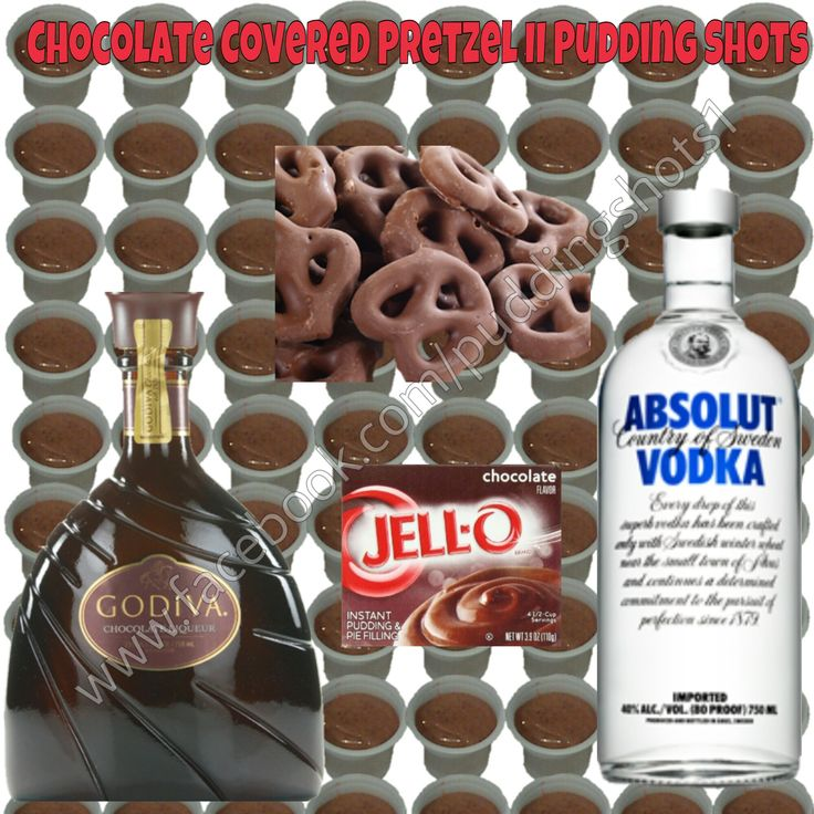 Chocolate Covered Pretzel Pudding Shots.  See full recipe and more on www.facebook.com/puddingshots1