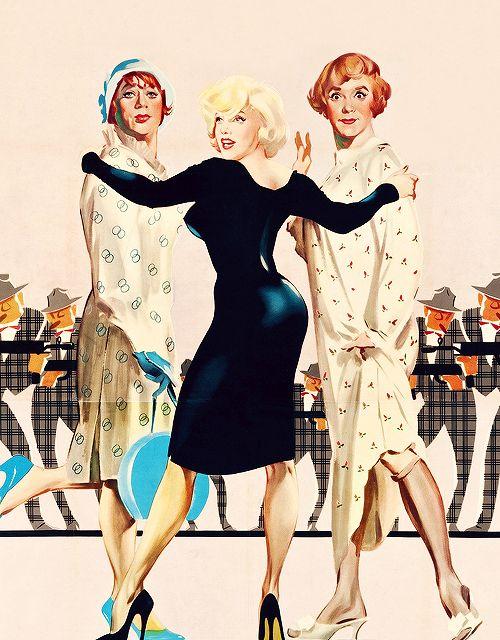 1940s & 1950s  (missmonroes:   Italian poster for Some Like It Hot...)