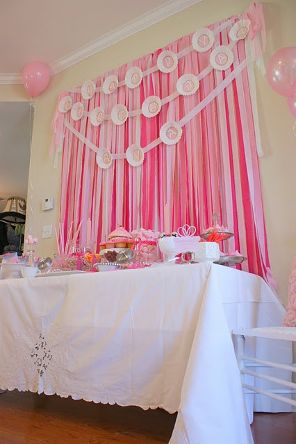 50 best streamer decoration ideas images on pinterest for Baby shower wall decoration