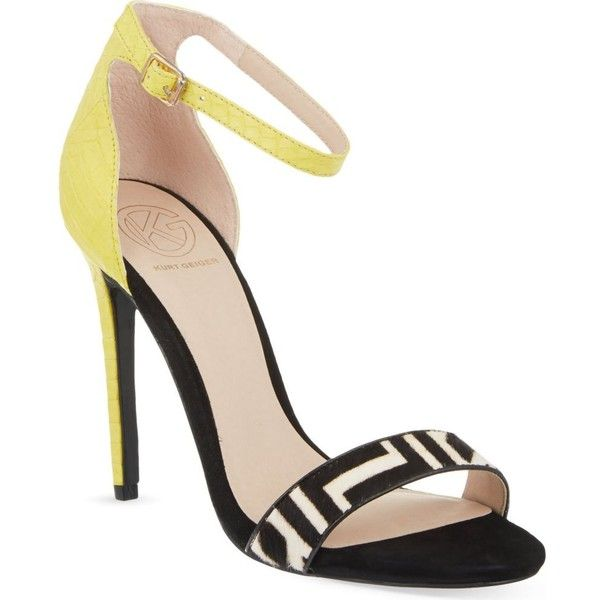 KG KURT GEIGER Joy heeled sandals (2,640 MXN) ❤ liked on Polyvore featuring shoes, sandals, heels, yellow, yellow heel shoes, kg kurt geiger, heeled sandals, yellow shoes and kg kurt geiger shoes