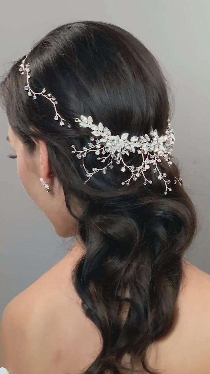 chic winter glamorous crystal bridal headpiece real wedding real bride inspiration bridal accessories. Clusters of Swarovski crystals in the shape of leaves are the showcase of this crystal bead vine tiara.
