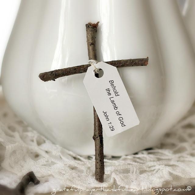 With a Grateful Prayer and a Thankful Heart: Little Wooden Cross from Sticks