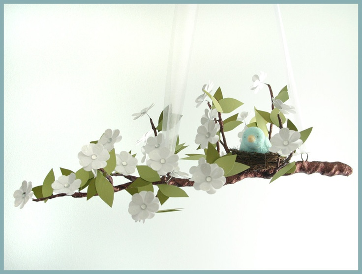White Spring Bloom Tree Limb Mobile with Teal Bird