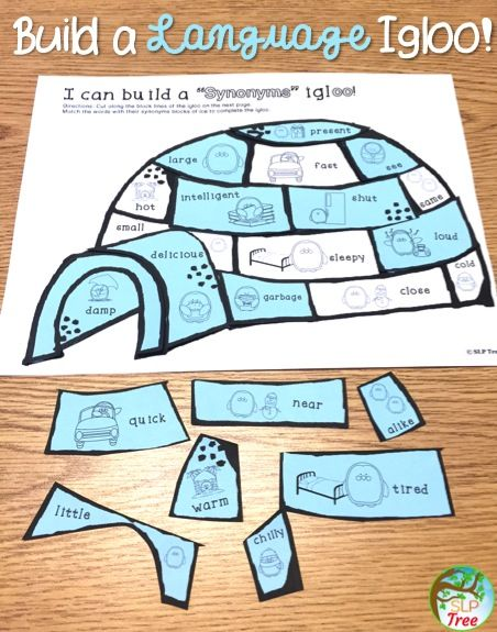 Winter speech therapy activity for language: wh-questions, regular and irregular past tense verbs, synonyms and antonyms, multiple meaning words and homophones