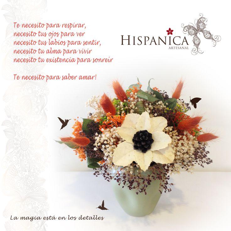 Arreglo de flores secas y artesanales. Elaborado por María del Carmen Herdoíza. Lo encuentras en HISPANICA ARTESANAL.  www.facebook.com/pages/Hispánica-Artesanal/152388901579229