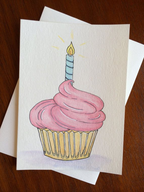 Happy Birthday Card  Cupcake Hand Illustrated  by FedeleDesign, $7.00