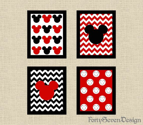 Set of 4 Mickey Mouse Black, White & Red Chevron Printable Wall Art