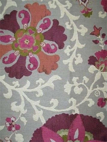 Nurata Mulberry Fabric  This beautiful suzani fabric is heavy enough for upholstery. more »  #fabrics #textiles