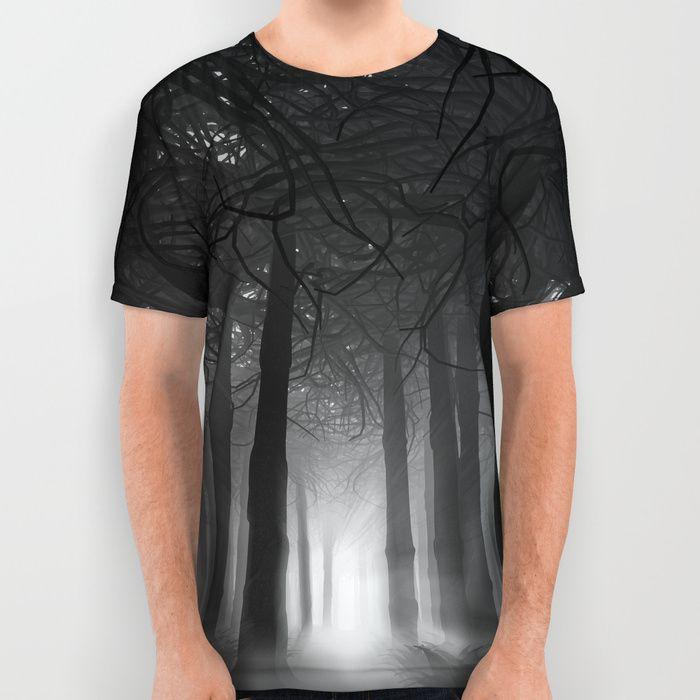 3D illustration of dark misty forest.