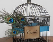 Wedding Card Box Peacock Birdcage Wedding Card Holder/ Wedding Bird Cage Decoration. $60.00, via Etsy.