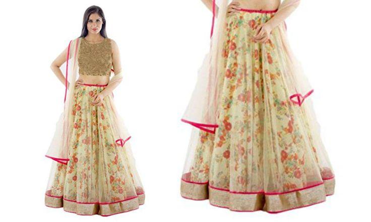 Women's simple multi color net lehenga choli